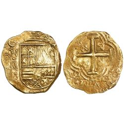 Bogota, Colombia, cob 2 escudos, Philip IV, assayer not visible (R to right, ca. 1654), from the Mar