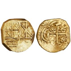 Bogota, Colombia, cob 2 escudos, 1696, backwards 6's and 9's, no assayer (Arce), from the 1715 Fleet