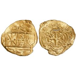 Bogota, Colombia, cob 2 escudos, (1)699, no assayer (Arce), from the 1715 Fleet.