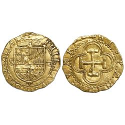 Seville, Spain, cob 1 escudo, Philip II, assayer Gothic D to right, mintmark S to left.