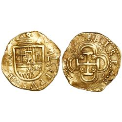 Seville, Spain, cob 2 escudos, Philip III, assayer B.