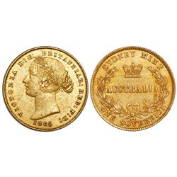 Sydney, Australia, sovereign, Victoria (young bust), 1865, rare, from the Schiehallion (1879).