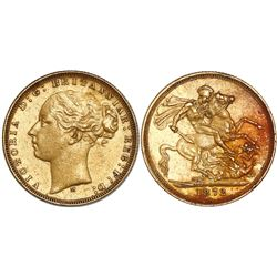 Melbourne, Australia (under Great Britain), sovereign, Victoria (young bust), 1872-M, horse reverse,