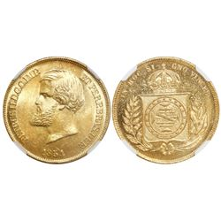 Brazil, 10,000 reis, Pedro II, 1854, encapsulated NGC MS 65, from the Douro (1882), stated inside sl