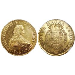 Santiago, Chile, bust 8 escudos, Ferdinand VI, 1751J, encapsulated NGC MS 64, from the Luz (1752), s