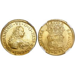 Santiago, Chile, bust 4 escudos, Ferdinand VI, 1749J, encapsulated NGC MS 61, from the Luz (1752), s