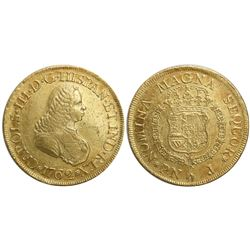 Popayan, Colombia, bust 8 escudos, Charles III (bust of Ferdinand VI), 1762J, mintmark P•N.