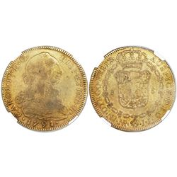 Bogota, Colombia, bust 8 escudos, Charles IV transitional (bust of Charles III, ordinal IV), 1791JJ,