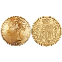 Great Britain (London, England), sovereign, Victoria (young bust), 1864, die 34, from the Schiehalli