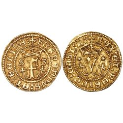 Seville, Spain, 1/2 excelente, Ferdinand-Isabel, S-S flanking crowned F, *-* flanking crowned Y.