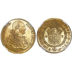 "Madrid, Spain, bust 4 escudos, Charles IV, 1796MF, encapsulated NGC AU 55 ""US Legal Tender Until 185"
