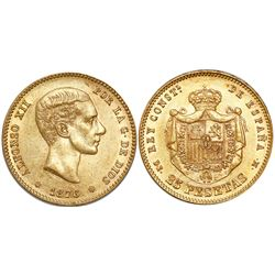 Madrid, Spain, 25 pesetas, Alfonso XII, 1876DEM, with 18-76 in stars.