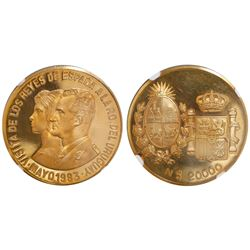 Uruguay, proof 20,000 new pesos, 1983, proposed royal visit, encapsulated NGC PR 66 Ultra Cameo.