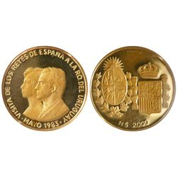 Uruguay, proof 2000 new pesos in gold, 1983, proposed royal visit, encapsulated NGC PR 66 Ultra Came