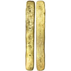 "Complete gold ""strap"" ingot for making oro corriente pieces, marked five times with circular tax sta"