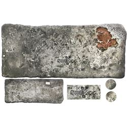 "Silver ""tumbaga"" bar #M-61, 2119 grams, marked with fineness IV III L XXX (1380/2400) and two tax st"