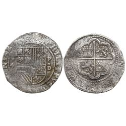 Lima, Peru, cob 4 reales, Philip II, assayer Diego de la Torre, *-4 to left, P-oD to right, Grade 1,