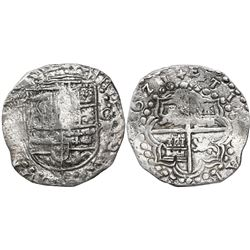 Potosi, Bolivia, cob 8 reales, 1621(T), with upper half of shield and quadrants of cross transposed,