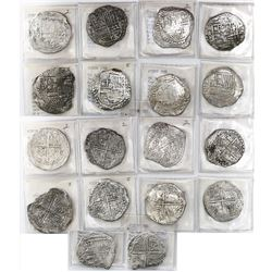 Lot of 9 Potosi, Bolivia, cob 8 reales, Philip III, assayers Q, T and not visible, all Grade 2.