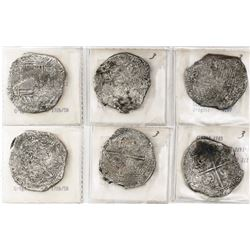 Lot of 3 Potosi, Bolivia, cob 8 reales, Philip II, assayers B and not visible, all Grade 3.