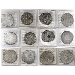 Lot of 6 Potosi, Bolivia, cob 8 reales, Philip III, assayers R, Q, T and not visible, all Grade 3, o
