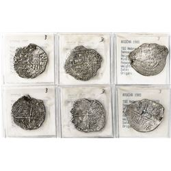 Lot of 3 Potosi, Bolivia, cob 4 reales, Philip III, assayers R, Q and not visible, all Grade 3.