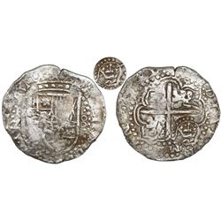 Potosi, Bolivia, cob 8 reales, (16)49Z (rare), with crowned script-a countermark (rare, attributed t
