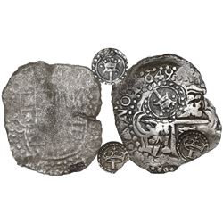 Potosi, Bolivia, cob 8 reales, 1649O, with two countermarks (rare) on cross: crowned-T (rare) and cr