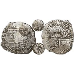 Potosi, Bolivia, cob 8 reales, 1650O, early-style date, with two countermarks (rare): crowned-T (rar