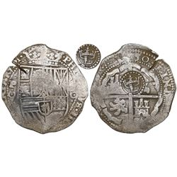 Potosi, Bolivia, cob 8 reales, 1650O, Latin 5, with crowned-L countermark on cross.