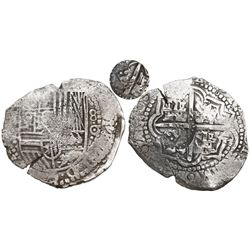 Potosi, Bolivia, cob 8 reales, (1650-1)O, with unidentified crowned-letter countermark on cross (pro