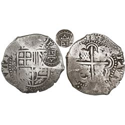 Potosi, Bolivia, cob 8 reales, (1650-1)O, with crowned-PH countermark on shield.