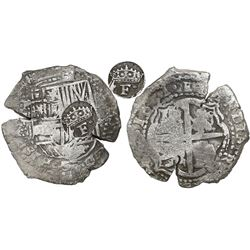 Potosi, Bolivia, cob 8 reales, 1651O, Latin 5, with crowned-•F• (two dots) countermark on shield.