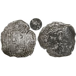 Potosi, Bolivia, cob 8 reales, 1651O, with crowned-A countermark (very rare) on cross.