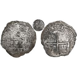 Potosi, Bolivia, cob 8 reales, (1)651(O or E), with crown-alone (rare style) countermark on cross.