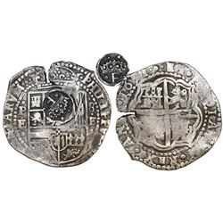 Potosi, Bolivia, cob 8 reales, 1651E/O, with crowned-•F• (four dots) countermark on shield.