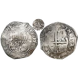 Potosi, Bolivia, cob 8 reales, 1651E, Latin 5, with crowned-•F• (four dots) countermark on shield.