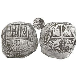 Potosi, Bolivia, cob 8 reales, 165(1-2)E, with crowned-O countermark on cross.
