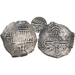Potosi, Bolivia, cob 4 reales, (164)9O, with crowned-L countermark on cross.