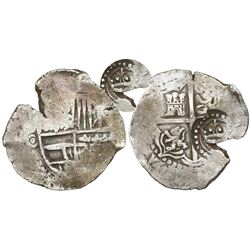Potosi, Bolivia, cob 4 reales, (1649-50)O, with crown-alone countermark (rare style) on cross.