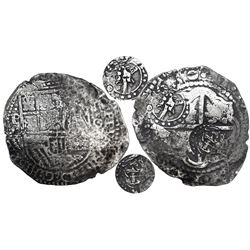Potosi, Bolivia, cob 8 reales, 1650O, with crowned-•T• and crowned-L countermarks on cross (very rar
