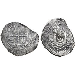 Potosi, Bolivia, cob 8 reales, 1652E post-transitional (Type VIII/B), (1-PH-6) at top, ex-Mastalir c