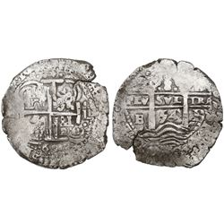 Potosi, Bolivia, cob 8 reales, 1654E, small 4 in date between pillars.