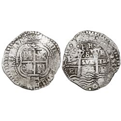 Potosi, Bolivia, cob 8 reales, 1654E, •PH• at top.
