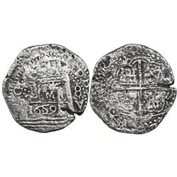 "Lima, Peru, cob 8 reales, 1659V, ""Star of Lima"" type (Series II), very rare provenance, Seliger Plat"