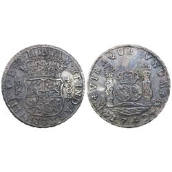 Mexico City, Mexico, pillar 8 reales, Philip V, 1742MF, rare provenance.