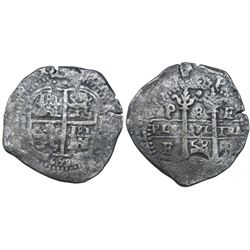 Potosi, Bolivia, cob 8 reales, 1658E, pomegranate at top on both sides.