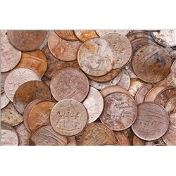 Large lot of 250 British East India Co. copper X cash, 1808.