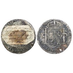 Potosi, Bolivia, bust 8 reales, Charles IV, 1808PJ, old salvage.