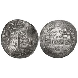Mexico City, Mexico, 2 reales, Charles-Joanna,  Early Series,  assayer G at bottom between pillars,